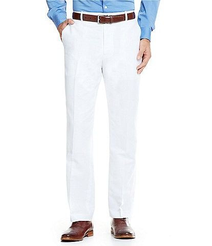 Perry Ellis Solid Linen Flat Front Pants