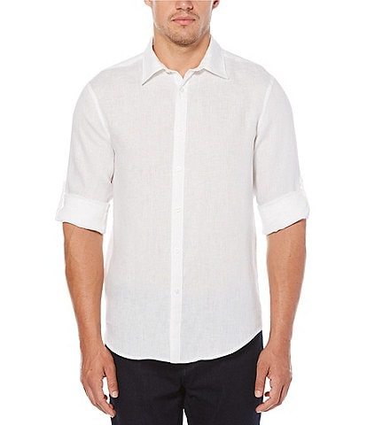 Perry Ellis Solid Linen Roll-Sleeve Woven Shirt