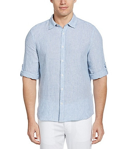 Perry Ellis Untucked Stripe Linen Roll-Sleeve Woven Shirt