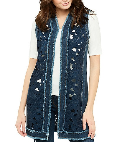 Peter Nygard Denim Lace Trim Vest