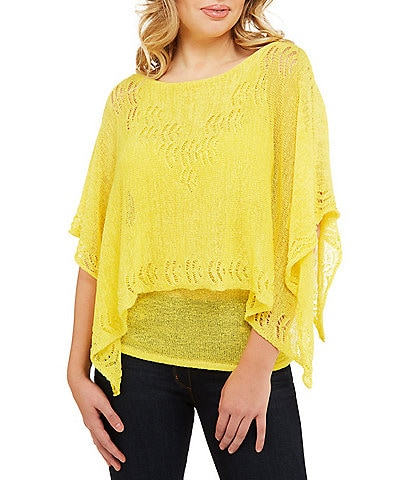 Peter Nygard Easy Knit Lace Poncho Top