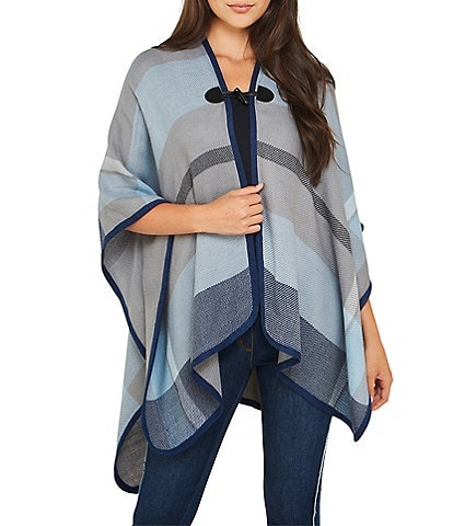 Peter Nygard Indigo Plaid Toggle Closure Wrap
