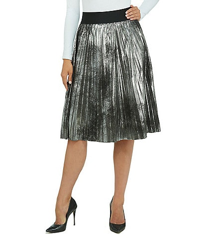 Peter Nygard Metallic Lam Knife Pleated A-Line Skirt