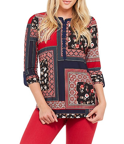 Peter Nygard Petite Size Patchwork Knit Henley Top