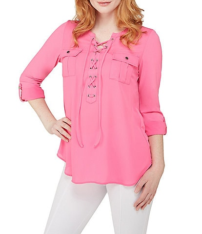 Peter Nygard Petite Lace Up Split V-Neck Roll-Tab Sleeve Top