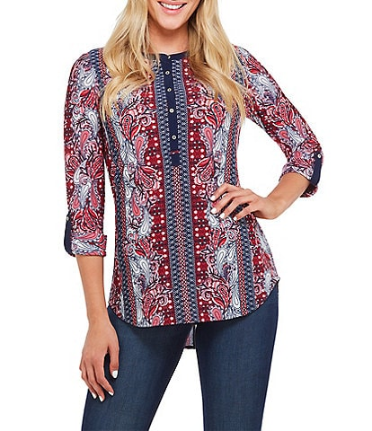 Peter Nygard Petite Size Printed Knit Henley Top