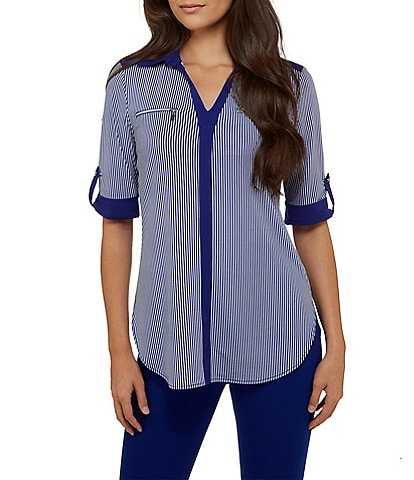 Peter Nygard Petite V-Neck With Zip Pocket Shirt