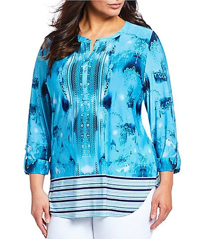 Peter Nygard Plus Size Knit Henley Neck Blue Watercolor Tunic Top