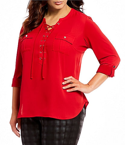 Peter Nygard Plus Size Lace-Up Blouse