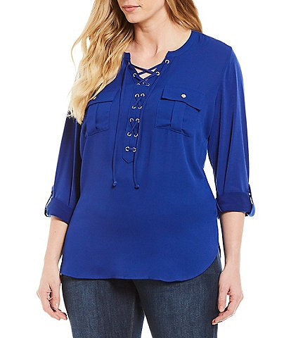 Peter Nygard Plus Size Lace Up Split V-Neck Roll-Tab Sleeve Tunic Top