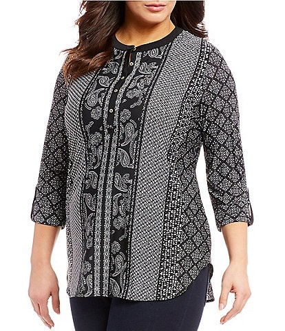 Peter Nygard Plus Size Printed Knit Henley Top