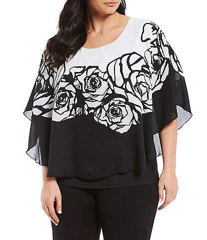 Peter Nygard Plus Size Woven Black And White Floral Print Scoop Neck Caftan Top