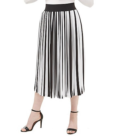 44e6225f39fa Peter Nygard Striped Pleated Midi Skirt
