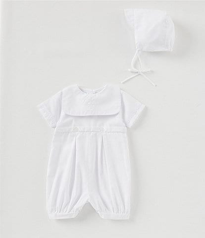 Petit Ami Baby Boys/Girls 3-12 Months Christening Romper & Bonnet Set