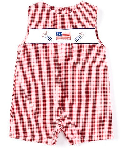 Petit Ami Baby Boys 3-24 Months Americana Fireworks Checked Shortall