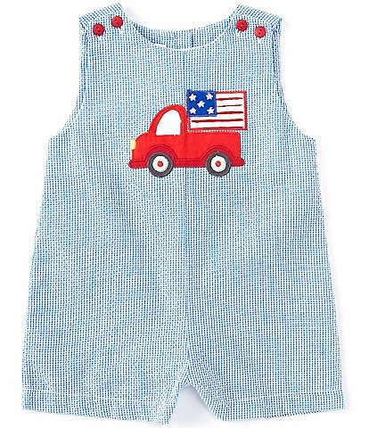 Petit Ami Baby Boys 3-24 Months Americana Truck Checked Seersucker Shortall