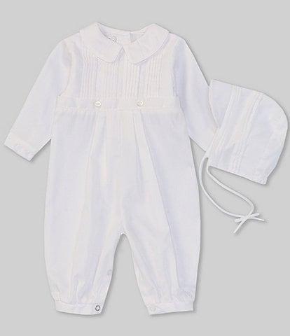 Petit Ami Baby Boys 3-24 Months Christening Pintuck Coverall & Bonnet