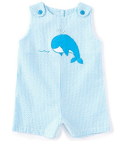 Petit Ami Baby Boys 3-24 Months Narwhal-Appliqued Seersucker Shortall