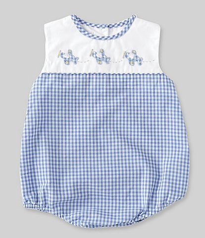 Petit Ami Baby Boys 3-9 Months Solid/Checked Airplane Bodysuit