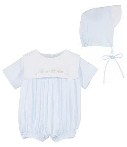Petit Ami Baby Boys Newborn-3 Months Train Embroidered Shortalls