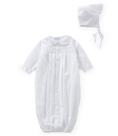 Petit Ami Baby Newborn Smocked Gown & Hat Set