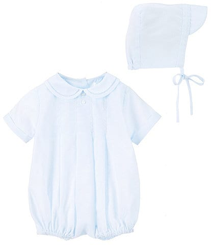 Petit Ami Baby Boys Preemie-Newborn Pleated Shortall & Hat