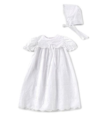 Petit Ami Baby Girls 3-12 Months Eyelet Christening Gown