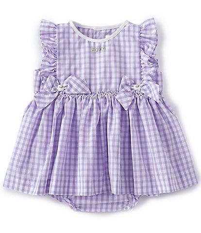 Petit Ami Baby Girls 3-24 Months Bow-Applique Gingham Bodysuit Dress
