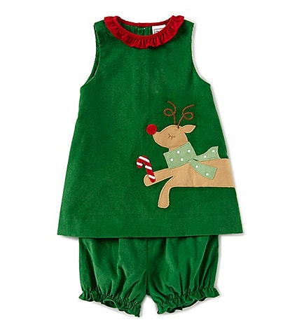 Petit Ami Baby Girls 3-24 Months Christmas Red-Nosed-Reindeer Applique A-Line Corduroy Dress