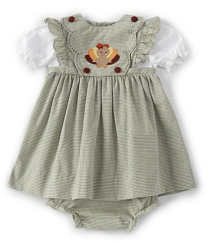 Petit Ami Baby Girls 3-24 Months Flutter-Sleeve Thanksgiving Turkey Checked Fit-And-Flare Dress