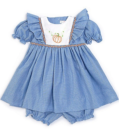 Petit Ami Baby Girls 3-24 Months Pumpkin Checked Fit-And-Flare Dress