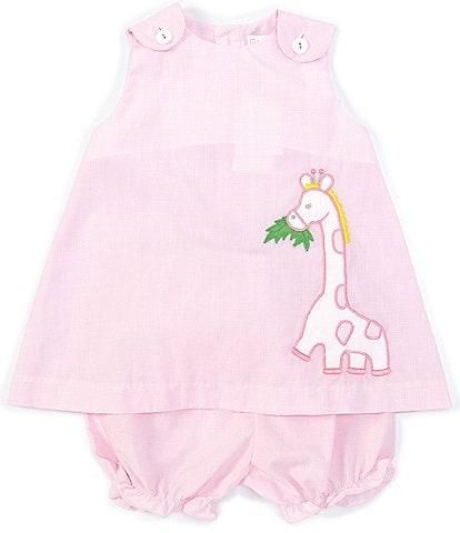 Petit Ami Baby Girls 3-24 Months Sleeveless Checked Giraffe-Applique A-Line Dress