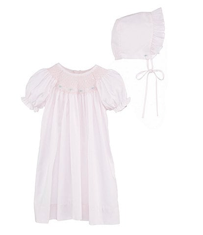 Petit Ami Baby Girls Newborn-3 Months Smocked Gown & Bonnet Set