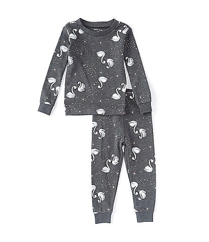 Petit Lem Baby Girls 12-24 Months Swan Two-Piece Pajamas Set