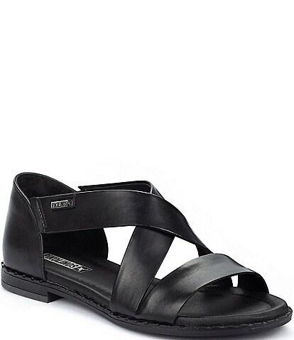 Pikolinos Algar Crisscross Banded Leather Slip-On Block Heel Sandals