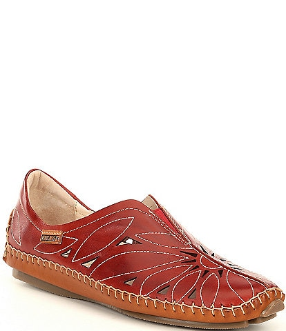 Pikolinos Jerez Floral Leather Cut Out Water Resistant Slip Ons