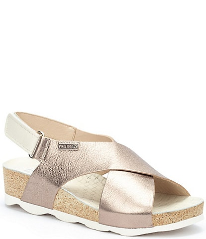 Pikolinos Mahon W9E Leather Crossband Wedge Sandals