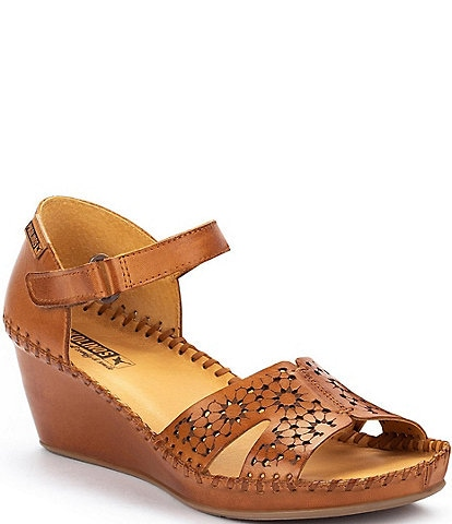 Pikolinos Margarita 943 Leather Cut-Out Ankle Strap Wedge Sandals