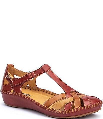 Pikolinos Puerto Vallarta Leather T-Strap Wedge Sandals