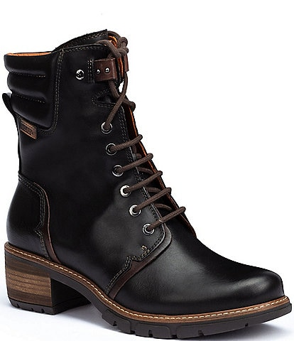 Pikolinos San Sebastian W1T Leather Lace-Up Block Heel Booties