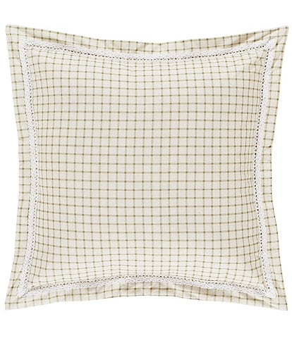Piper & Wright Jackie Plaid & Crochet Trimmed Square Pillow