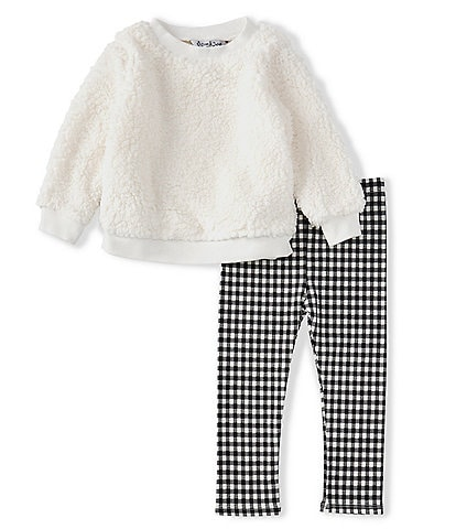 Pippa & Julie Baby 12-24 Months Long-Sleeve Sherpa Knit Sweater Top & Checked Printed Leggings Set