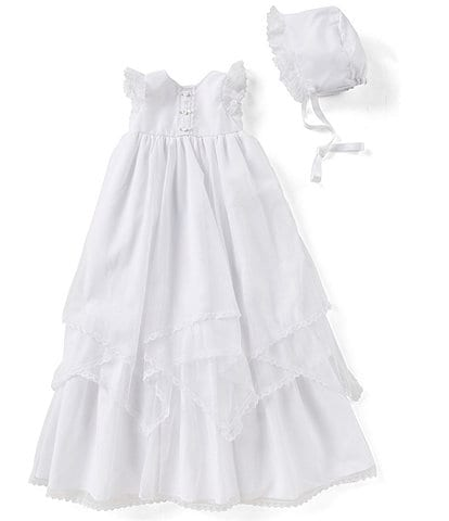Pippa & Julie Baby Girls Newborn-9 Months Tiered-Hem Christening Gown & Bonnet Hat Set
