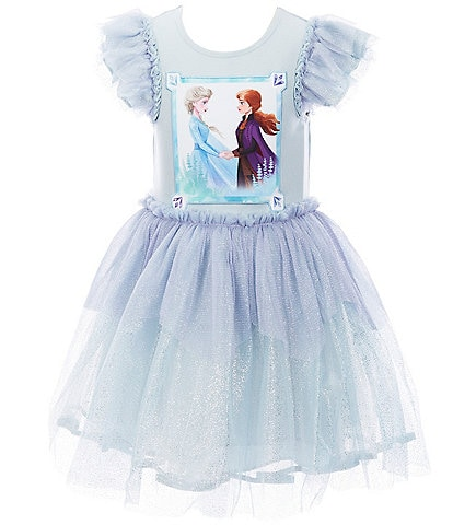 Pippa & Julie Disney x Pippa & Julie Little/Big Girls 2T-8 Flutter-Sleeve Frozen Tutu Dress