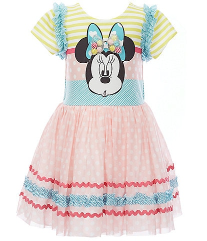Pippa & Julie Disney x Pippa & Julie Little/Big Girls 2T-8 Minnie Mouse Striped Fit-And-Flare Dress