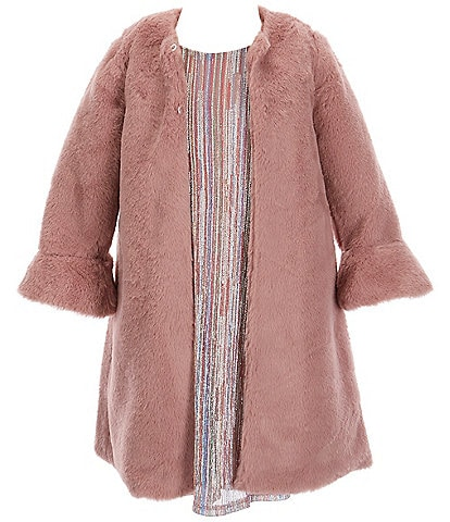 Pippa & Julie Little Girls 2T-6 Long Sleeve Plush Faux Fur Coat & Glitter Dress 2-Piece Set