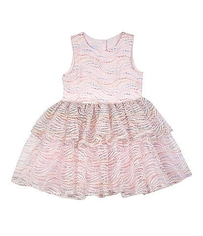 Pippa & Julie Little Girls 2T-6 Metallic-Lace Tiered Fit-And-Flare Dress