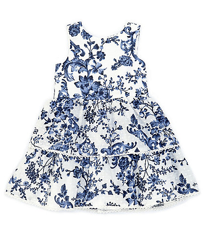 Pippa & Julie Little Girls 2T-6X Floral/Clip-Dot Tiered Fit-And-Flare Dress