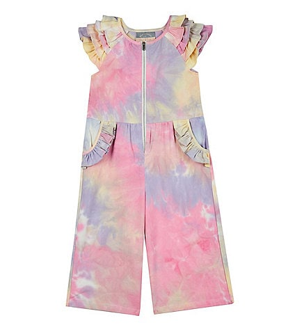 Pippa & Julie Little Girls 2T-6X Flutter-Sleeve Tie-Dye Jumpsuit