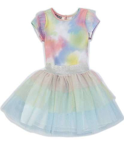 Pippa & Julie Little Girls 2T-6X Flutter-Sleeve Tie-Dye Tee & Mesh Tutu Skirt